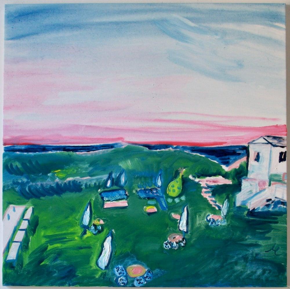 "Image of Hero Beach Club, Montauk, 30"" x 30"" painting"