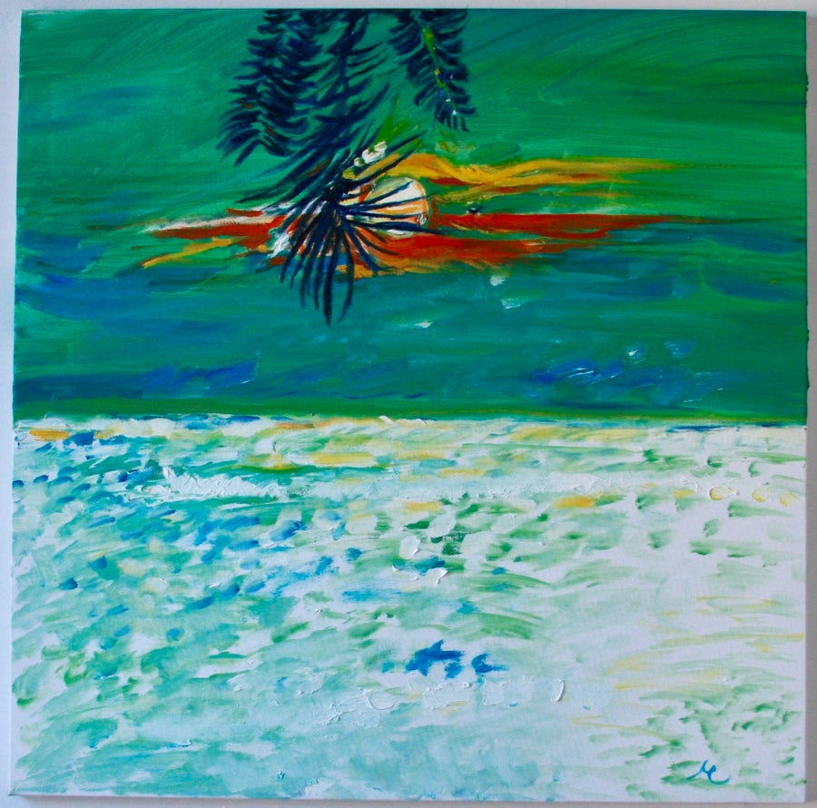 "Image of Kailua, 30"" x 30"" painting"