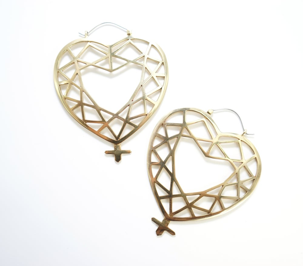 Image of Venus Charm Hoops in Brass