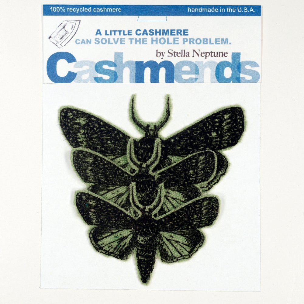 Image of Iron-on Cashmere Moths - Dark Olive Green