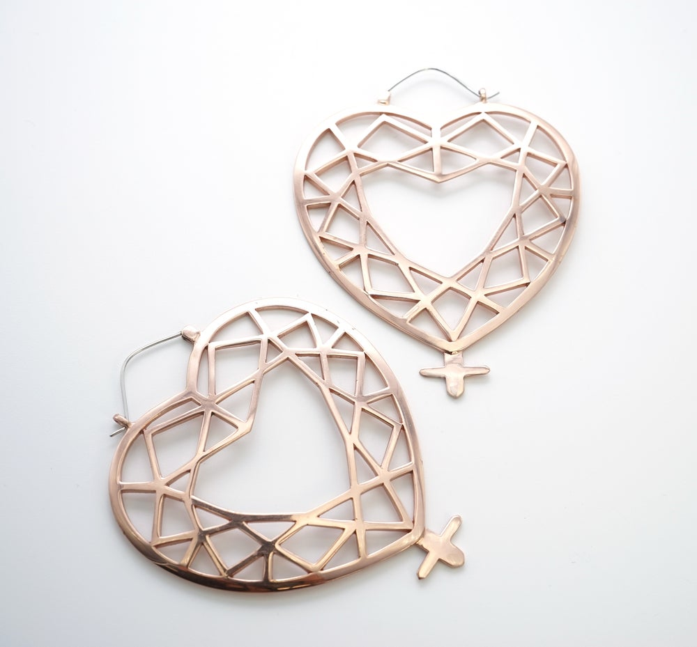 Image of Venus Charm Hoops in Rose Gold