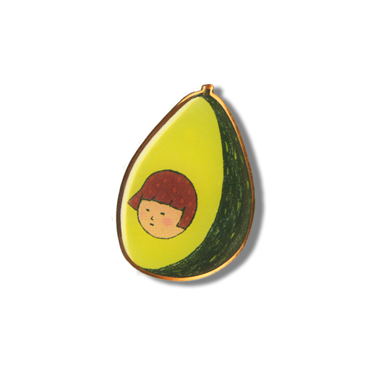 Image of Avocado Girl Enamel Pin + Riso Zine