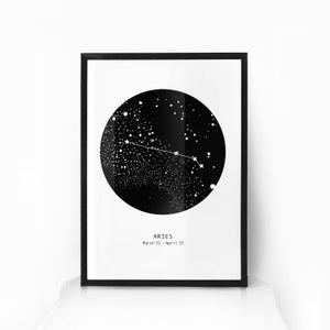 Image of Zodiac Star Sign Constellation Art - WHITE