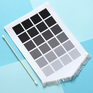 Image of Monochrome pin display pennant flag, enamel pin badge banner - ombre grey, black squares