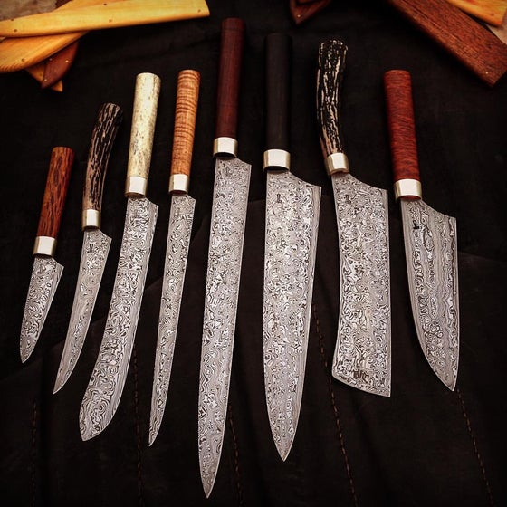 Image of Set of 8 damascus steel kitchen knives