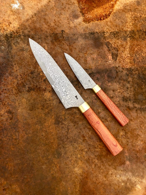 "Image of Stainless damascus steel 8"" chef + paring knife set"