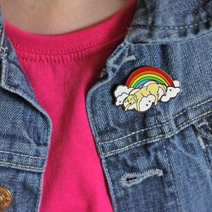 Image of Rainbow cloud dog hard enamel pin - sleeping dog - yellow labrador - iridescent glitter - dog pin