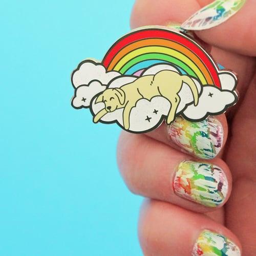 Image of Rainbow cloud dog hard enamel pin - sleeping dog - yellow labrador - iridescent glitter - dog pin
