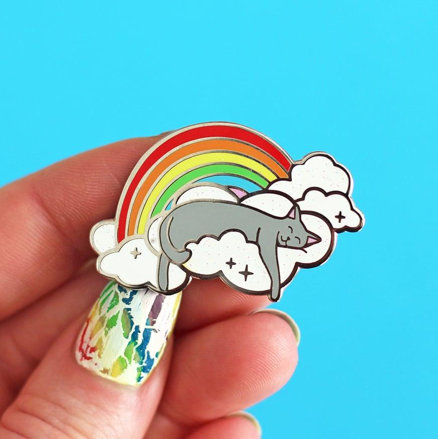 Image of Rainbow cloud cat hard enamel pin - sleeping grey cat - iridescent glitter - cat pin