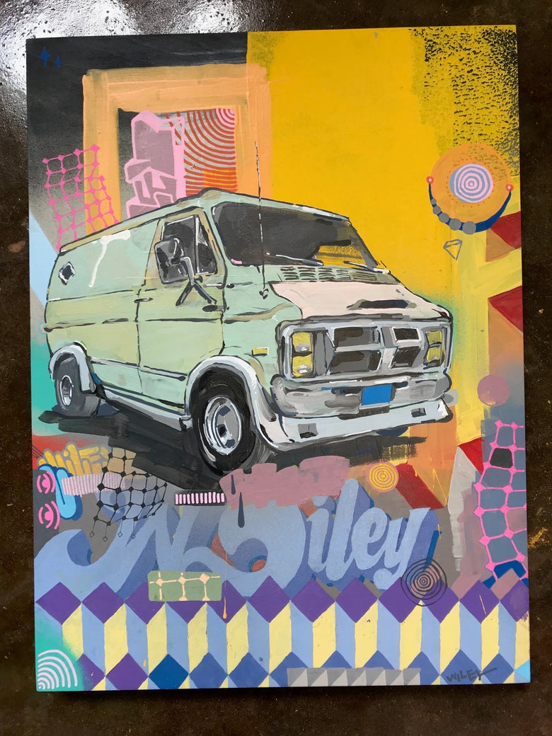 Image of hand painted van drawing wiley