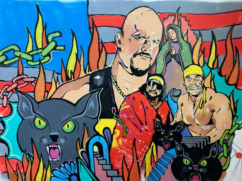 Image of Large WWE painting