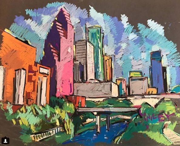 Image of Custom to be made upon purchase Houston pastel skyline drawing