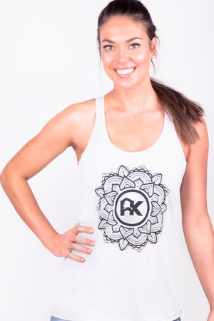 Image of Women's Mandala Logo Tank - Heather White/Black