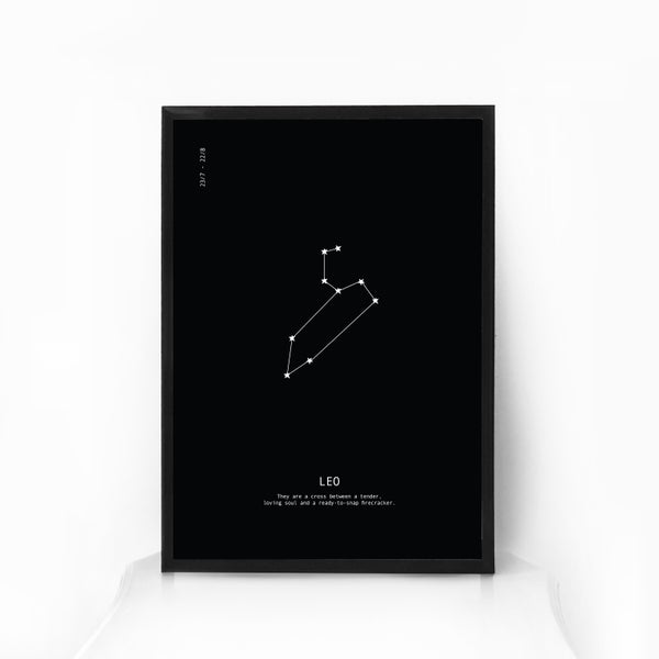 Image of Zodiac Star Sign Constellation Art - BLACK