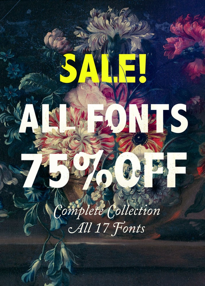 Image of 17 FONTS PACKAGE 75% DISCOUNT