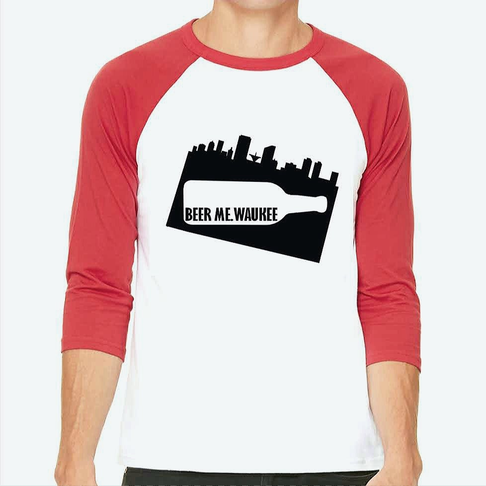 Image of Red & White Unisex Baseball Tee