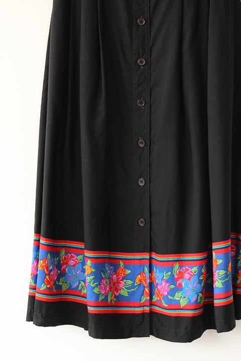 Image of SOLD Vibrant Floral Trim Button Up Skirt