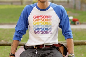 Image of GAYS OKAY 3/4 SLEEVE T-SHIRT