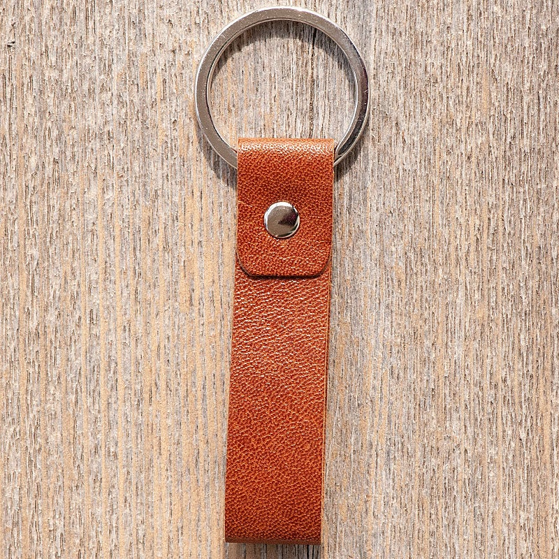 Image of Handmade Kangaroo leather key ring - tan brown