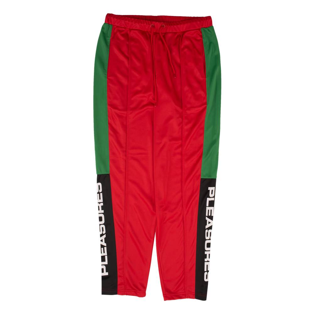 Image of PLEASURES - COLORBLOCK TRACK PANTS (RED)