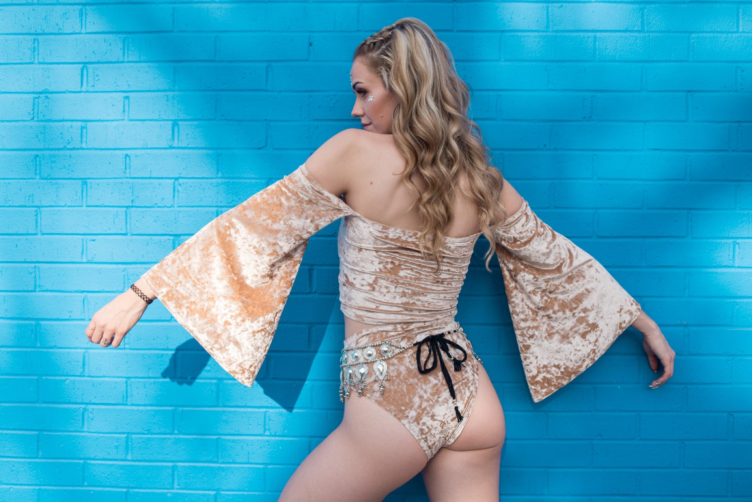 Image of Nude Velvet Cheeky Play Shorts