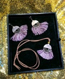 Image 2 of Circle Metal and Fringe Earring & Necklace set