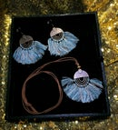 Image 4 of Circle Metal and Fringe Earring & Necklace set