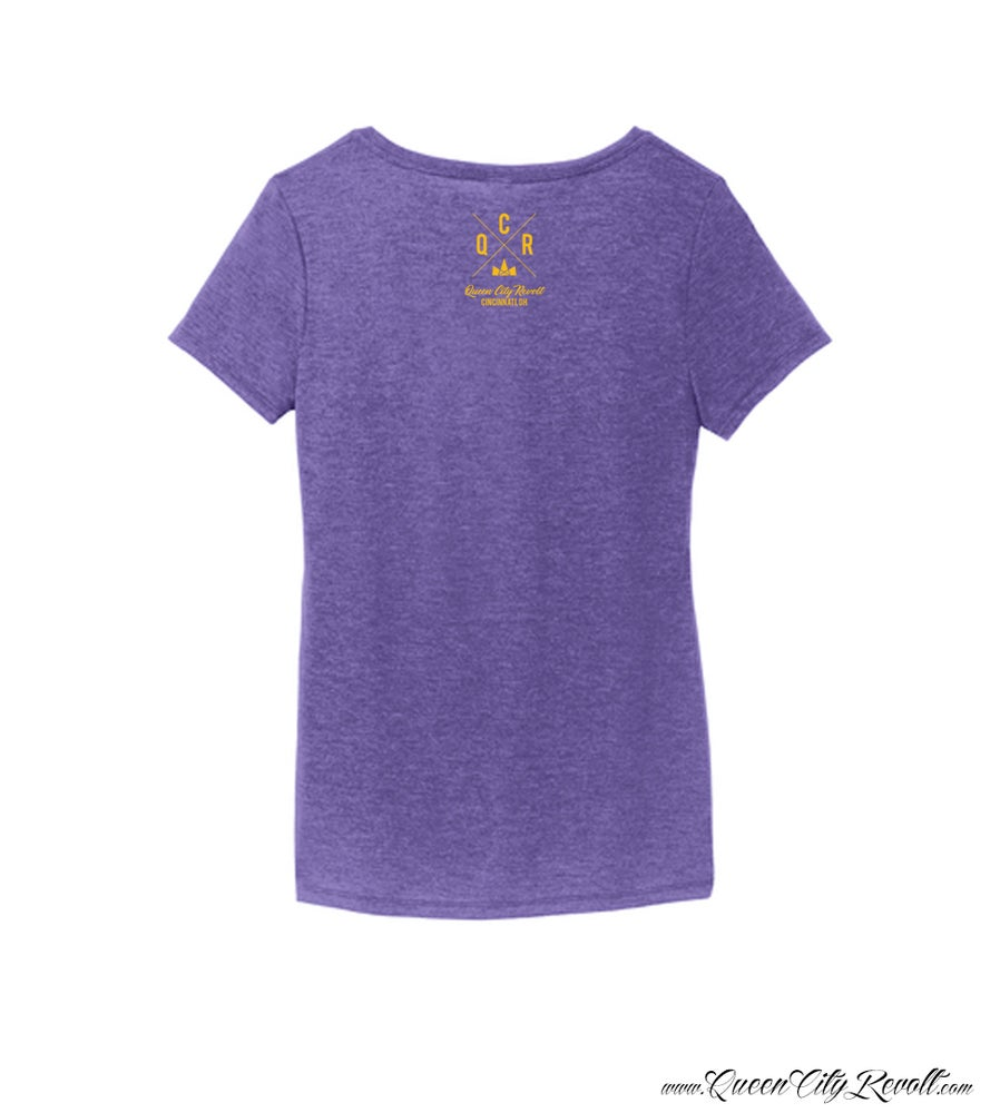 Image of Queen Of the Queen City, Women's Hippo TriBlend Tee, Vneck, Heathered Purple