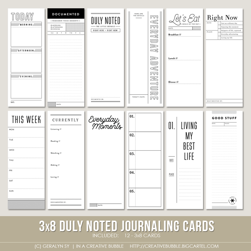 Image of 3x8 Duly Noted Journaling Cards (Digital)