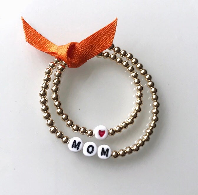 Image of Mom and Baby Gold Bead Bracelet Set