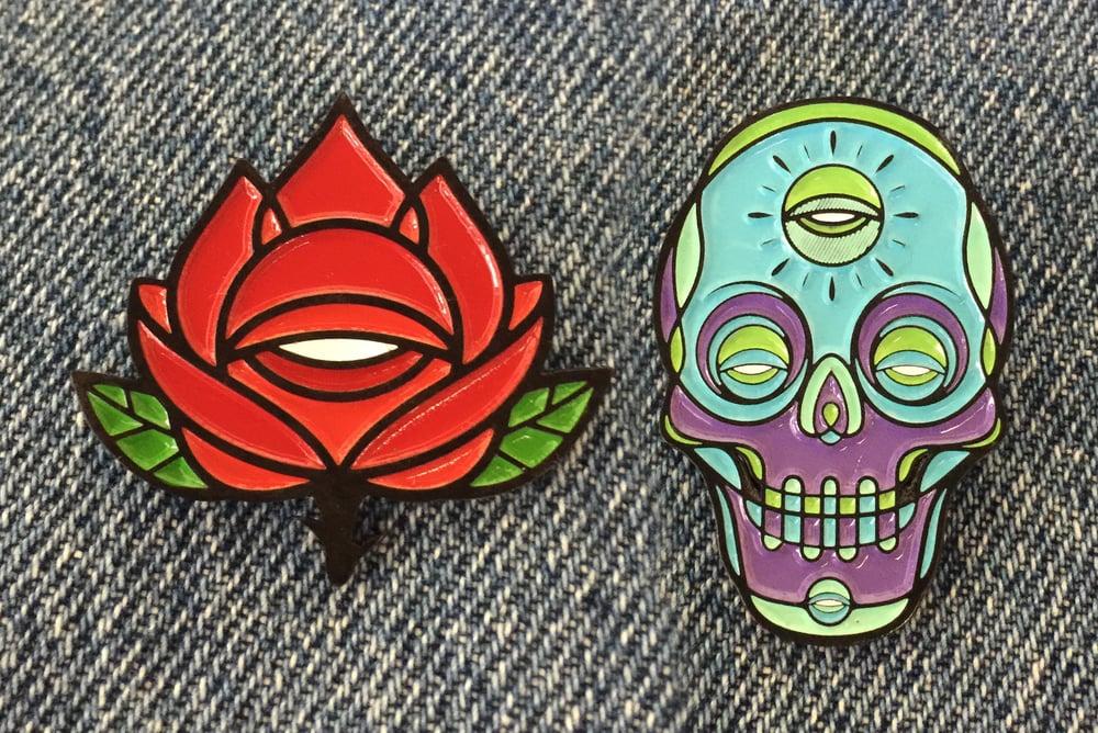 Image of ROSE & SKULL PIN SET