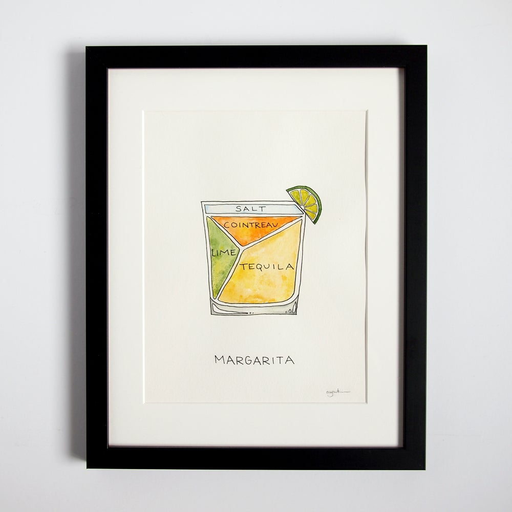 Image of Original Margarita Cocktail Diagram Watercolor Painting - FRAMED