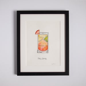 Image of Original Paloma Cocktail diagram Watercolor - Framed