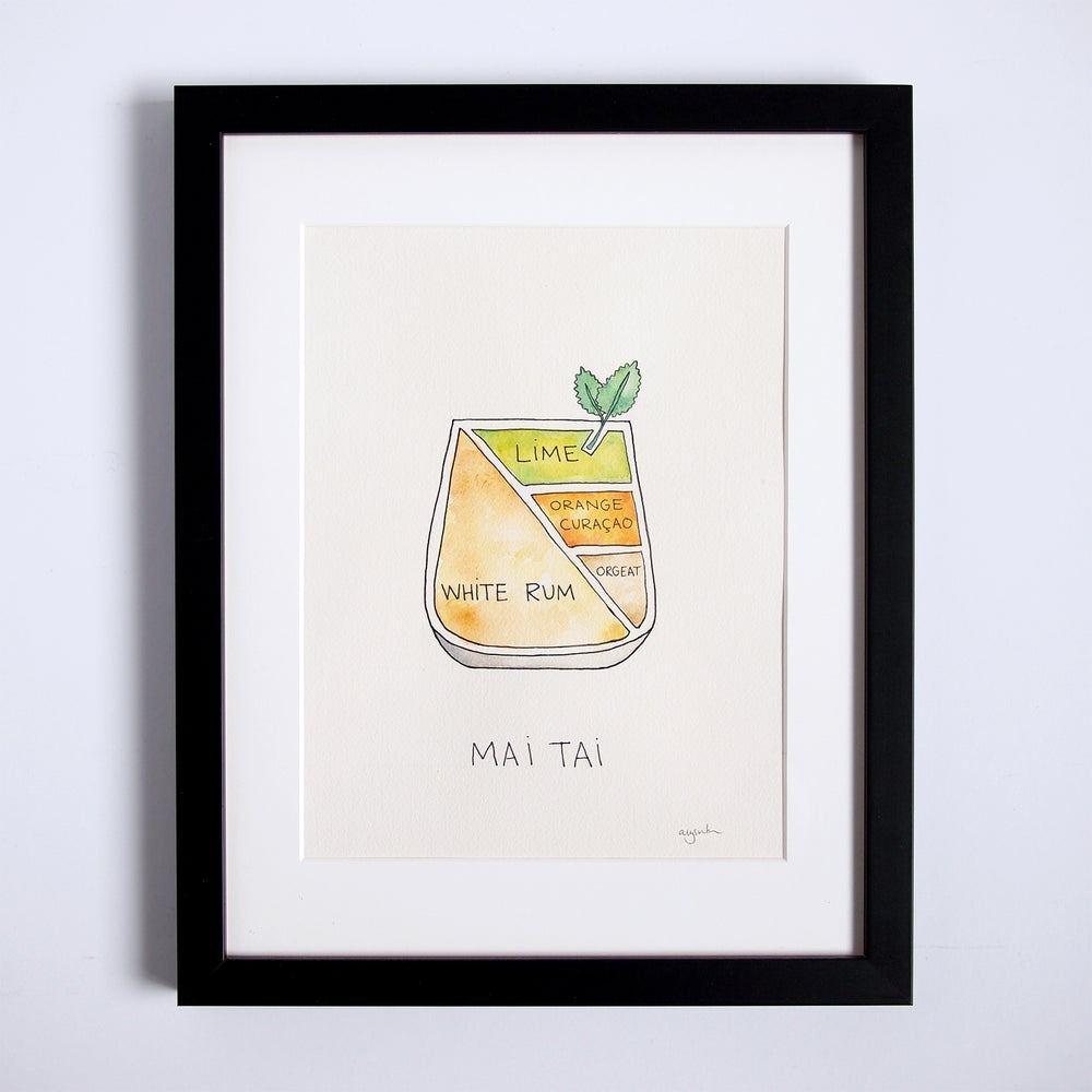 Image of Original Mai Tai Cocktail Art - Framed