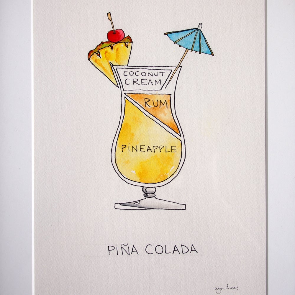Image of Orignal Pina Colada Watercolor - Framed