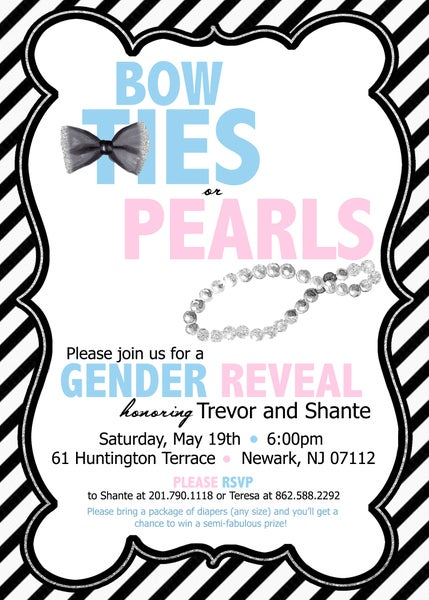 Image of Bow Ties or Pearls Baby Shower Invitation