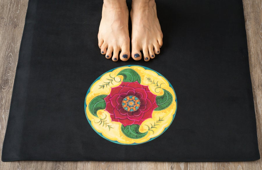 Image of Mandala Yoga Towel - Black with Damask Rose and Mehndi Rose