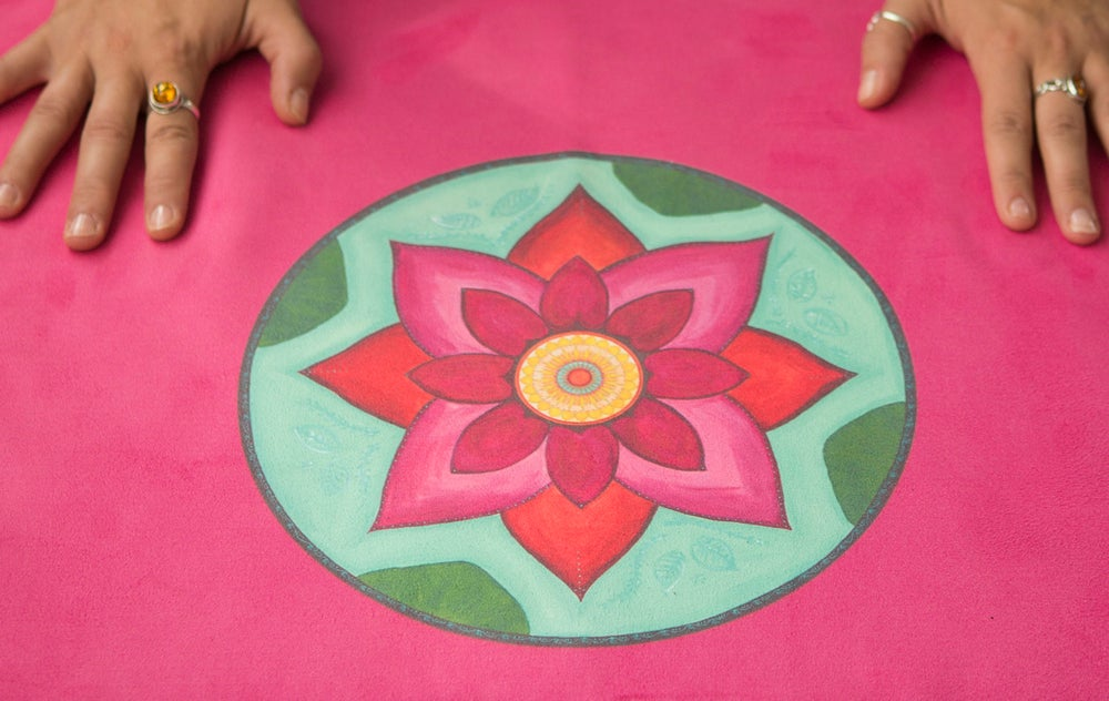 Image of Mandala Yoga Towel - Pink with Pink and White Lotuses