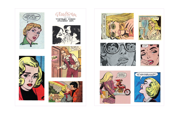 Image of feminine comic sticker set