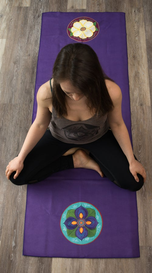 Image of Mandala Yoga Towel - Purple with Magnolia and Purple Lotus Bud
