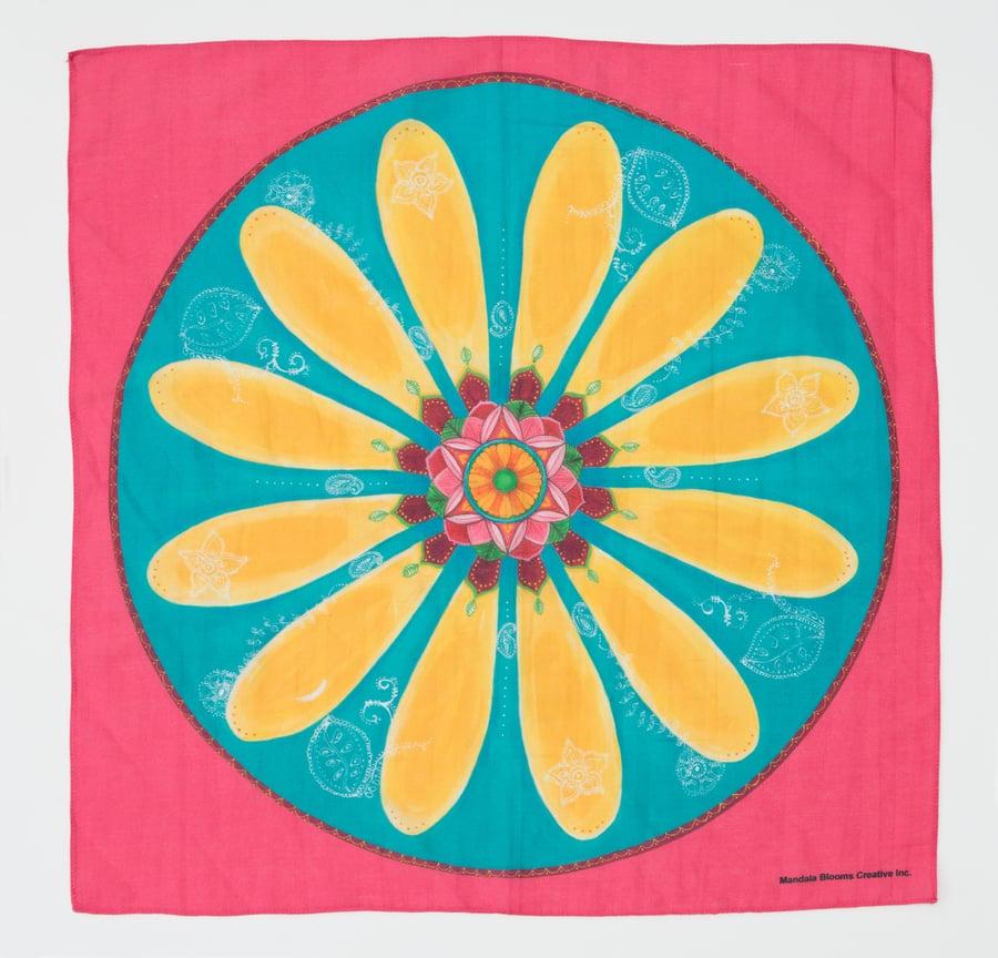 Image of Mandala Scarf -  Yellow Mehndi Daisy