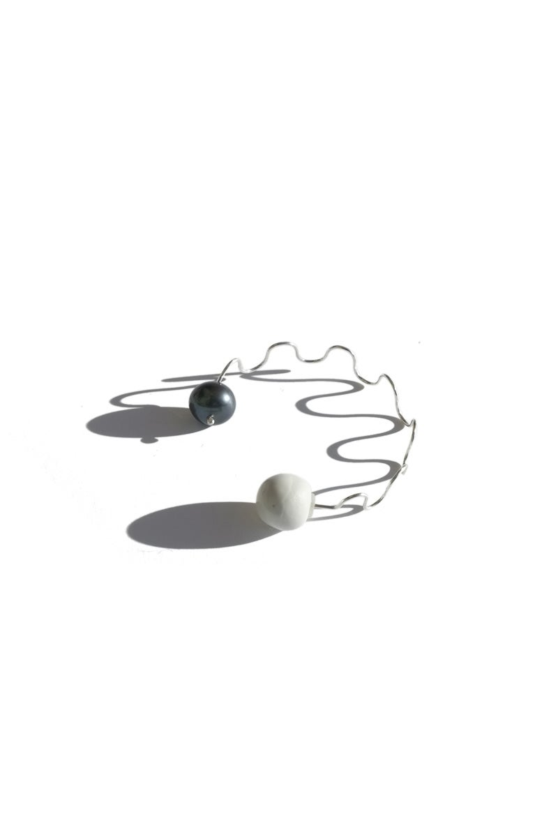 Image of pearl wave earring