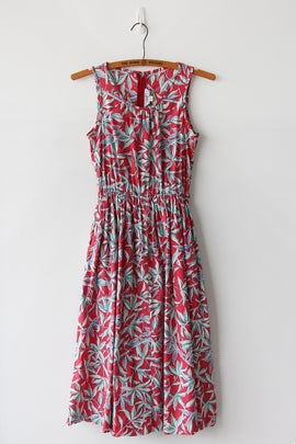 Image of Sunset And Plants Cotton Dress With Pockets