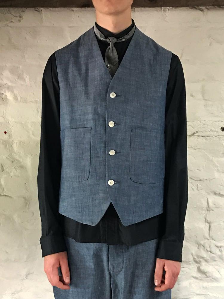 Image of TUAREG WAISTCOAT in Blue Denim £185.00