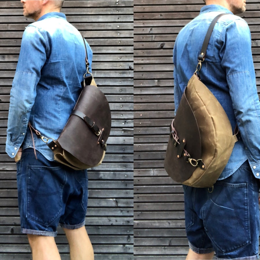 Image of Satchel / waxed canvas messenger bag / cross body bag / Sling bag with adjustable shoulderstrap UNIS