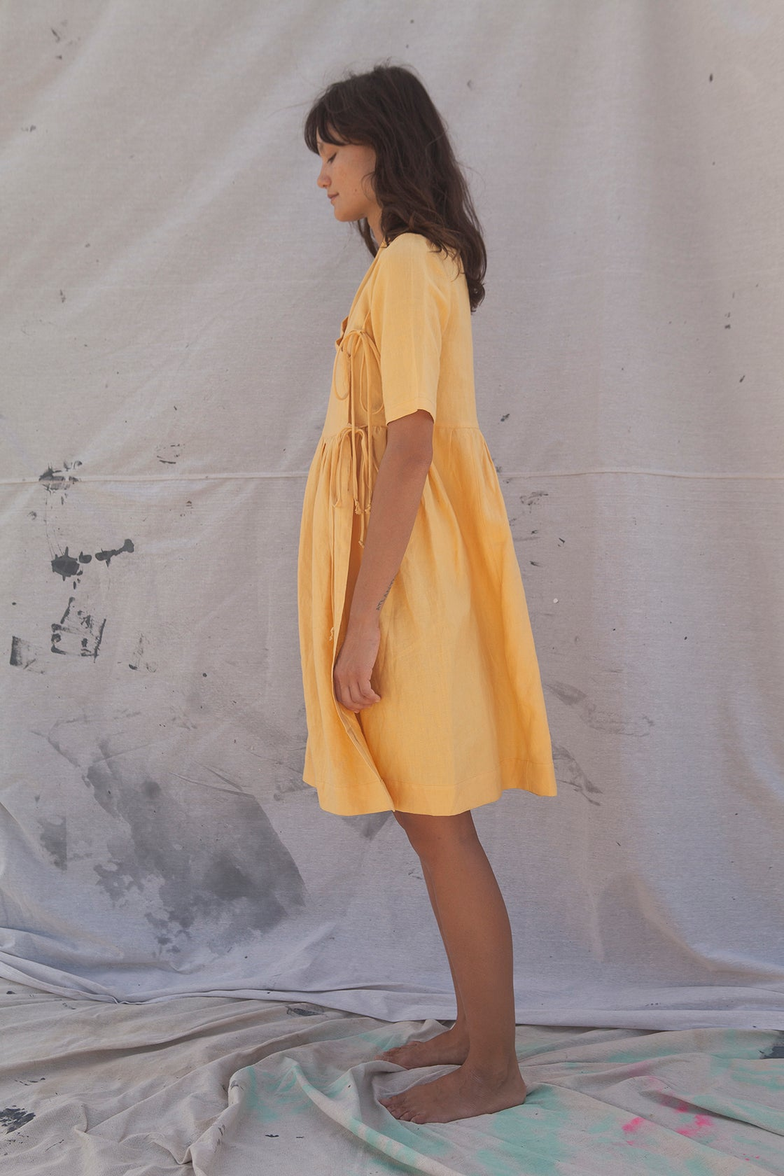 Image of Mustard Plain Dress by Threadgate