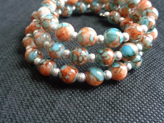 Image of Teal and Brown Memory Wire Braclet