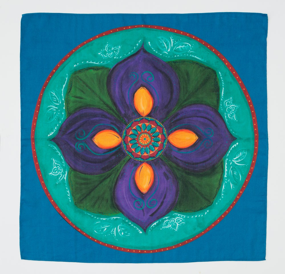 Image of Mandala Scarf - Purple Lotus Bud