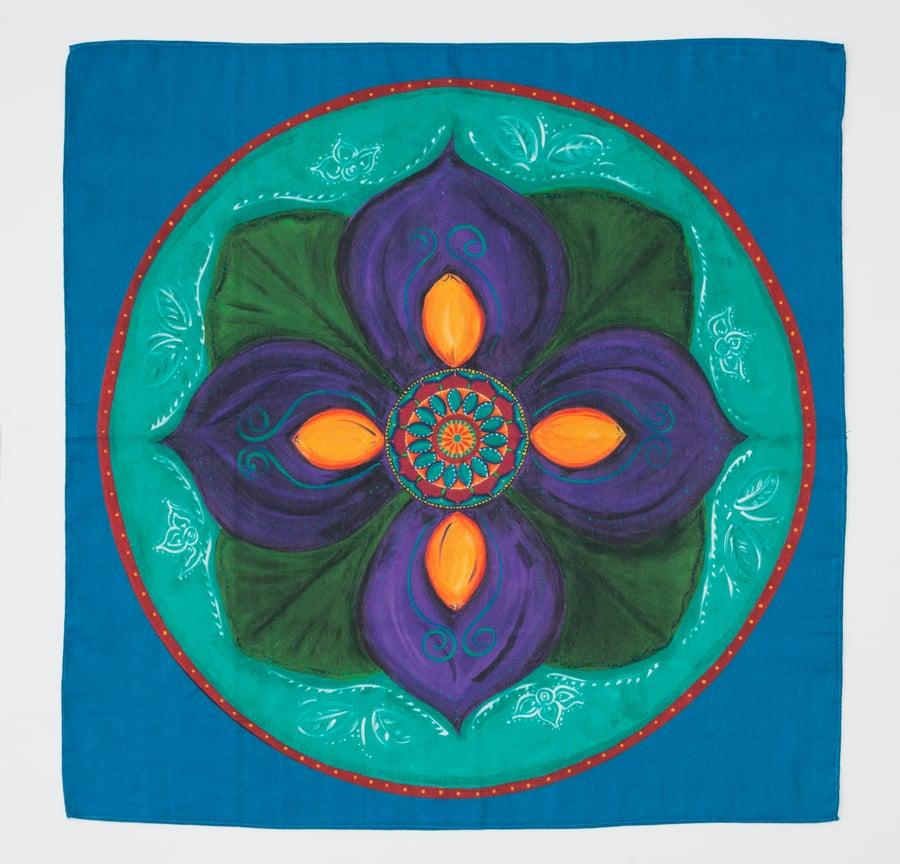 Image of Mandala Scarf - Purple Lotus Bud