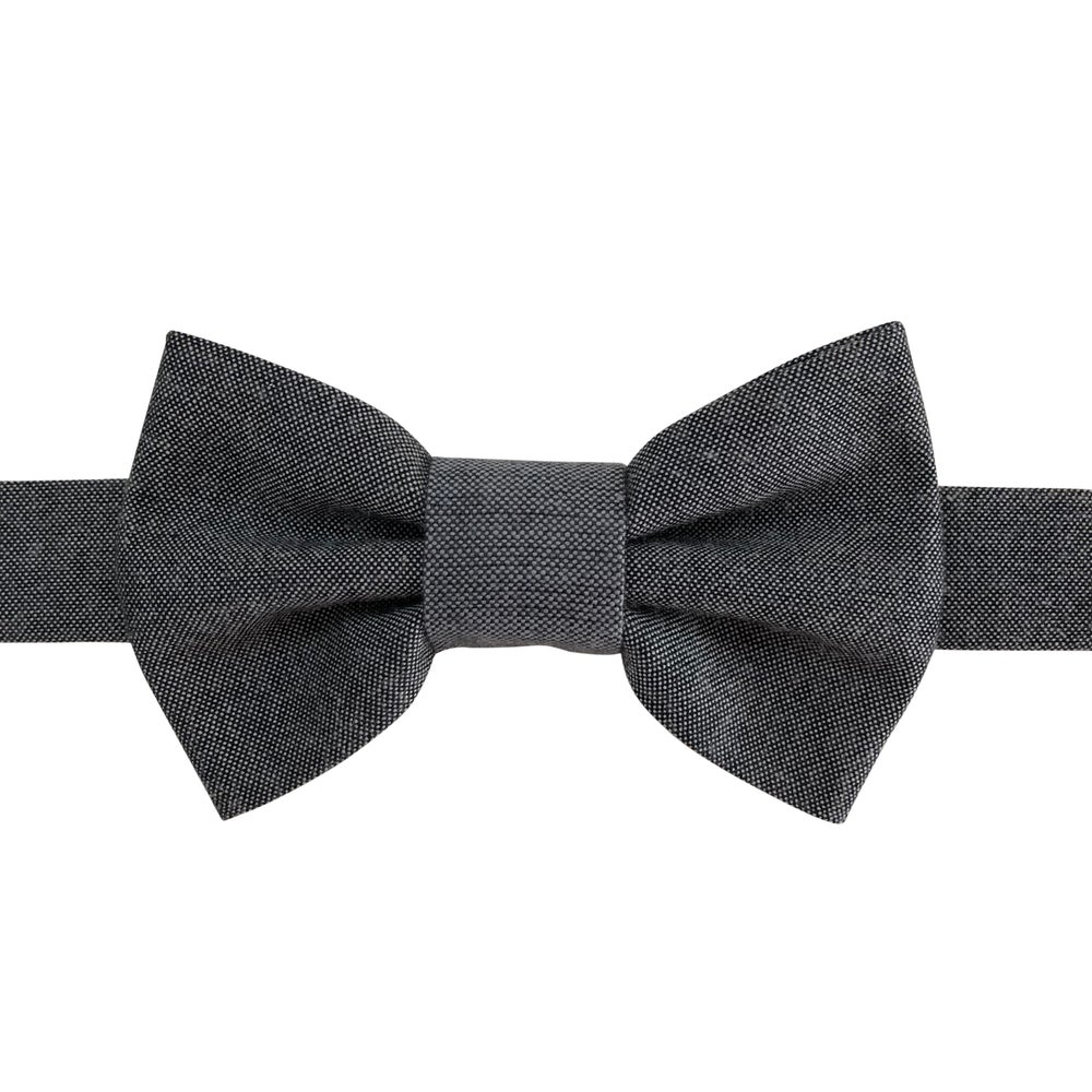 Image of black chambray bow tie